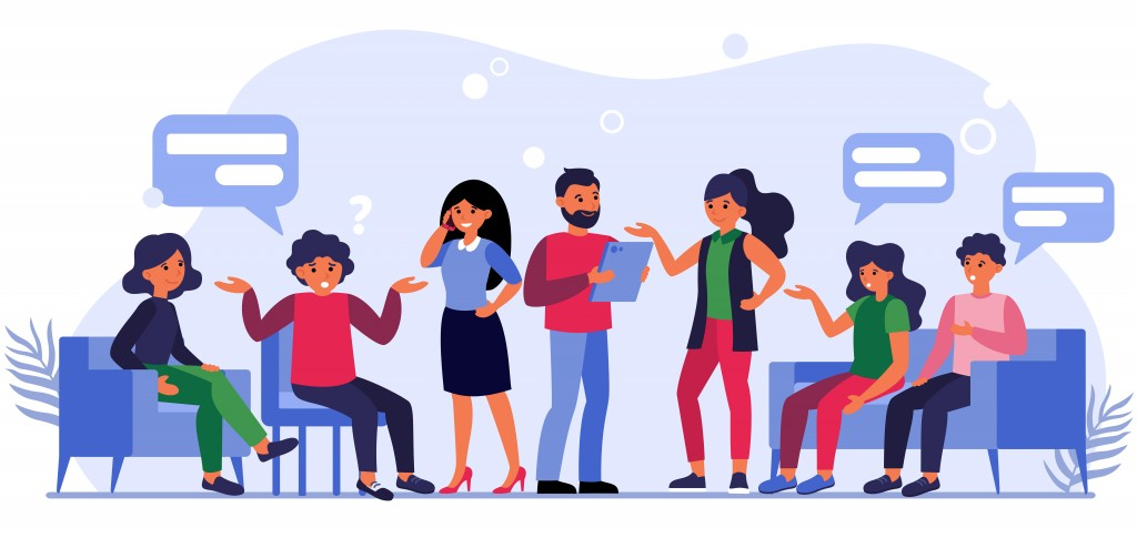 People asking questions to businesspeople. Clients sitting in lobby and talking to managers flat vector illustration. Client work concept for banner, website design or landing web page