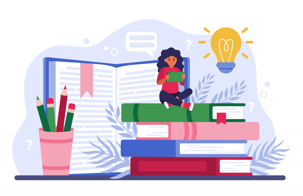 Student studying online. Girl sitting on stack of books and using tablet computer. Vector illustration for distance education, online course, studying on internet, knowledge concept.
